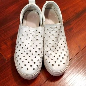 White Leather Wedges with stars Size 5